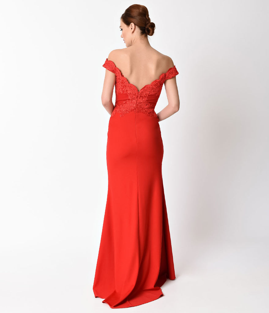 Red Lace Off the Shoulder Embellished Gown