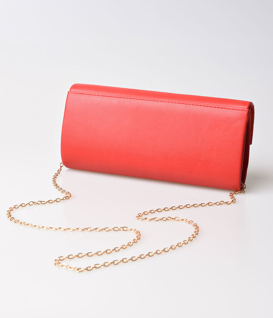 Red Leatherette Long Envelope Fold Over Clutch