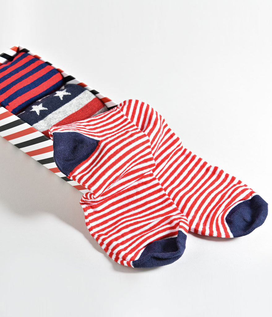 Red Multicolor Striped Mens Dress Casual Socks Set