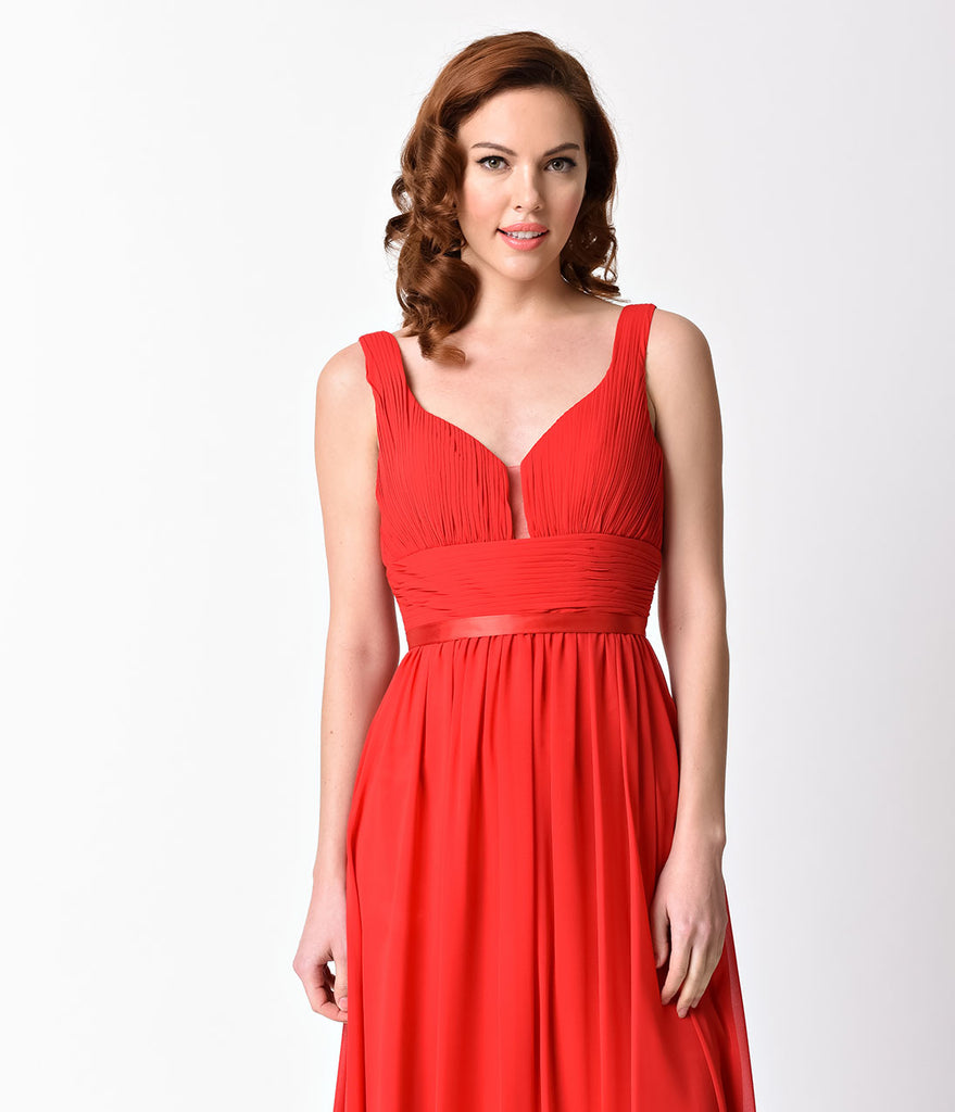 Red Pleated Chiffon Long Dress