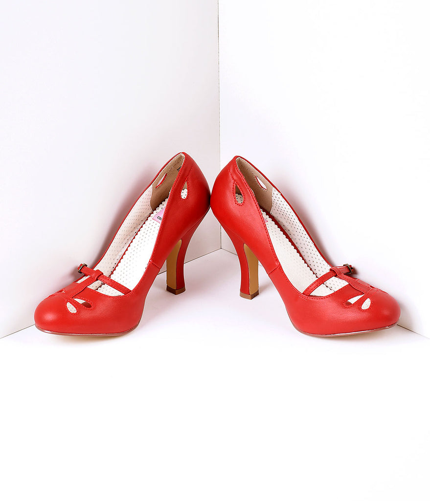 Red Pleather Cut Out Strap Smitten Mary Jane Heels