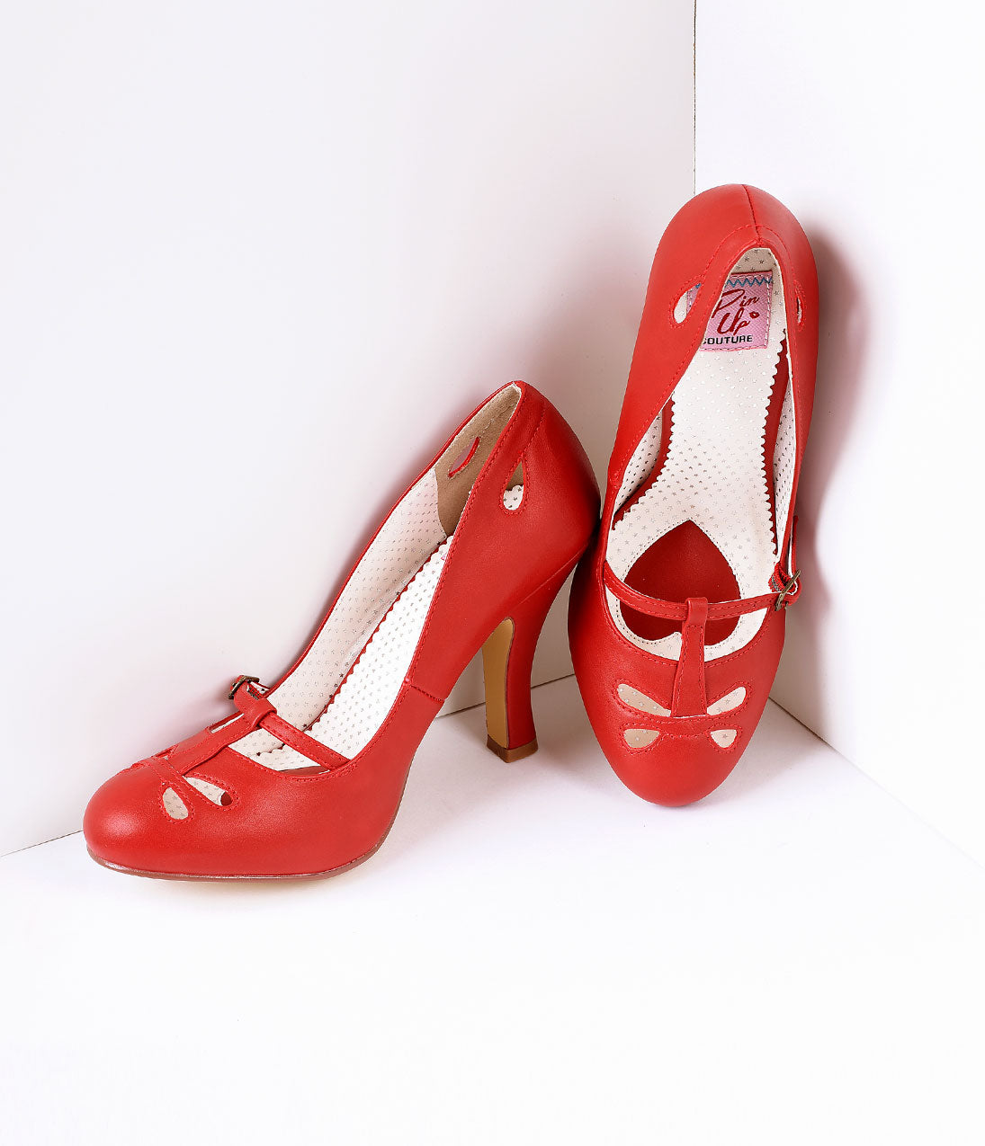 Vintage Style Shoes, Vintage Inspired Shoes Red Pleather Cut Out Strap Smitten Mary Jane Heels $57.00 AT vintagedancer.com