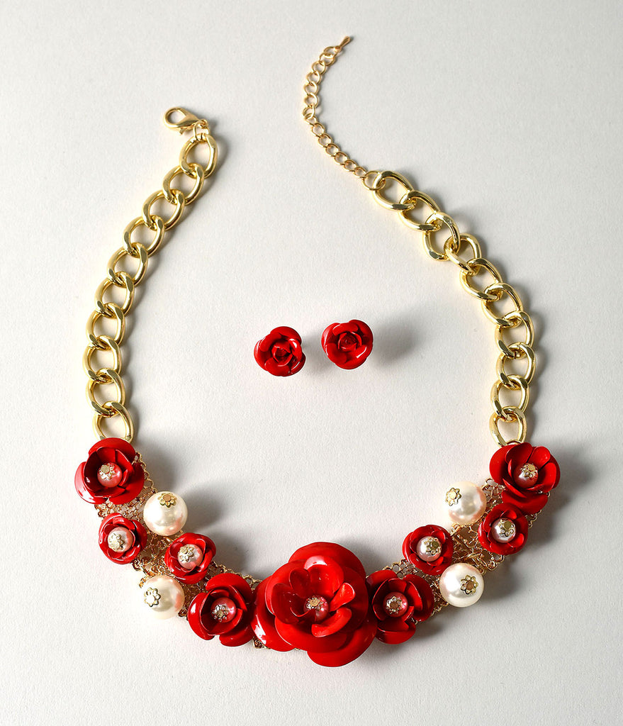 Red Rose & Ivory Pearl Necklace & Stud Earring Set