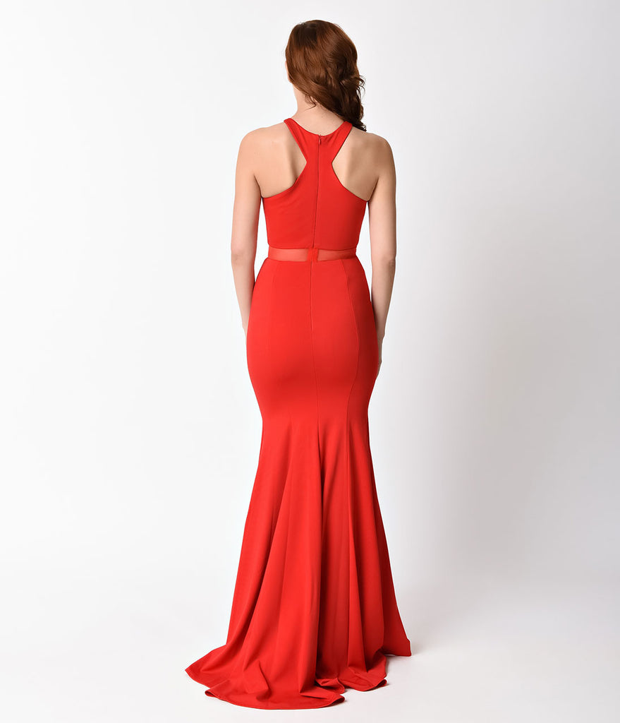 Red Sexy Mermaid Cut Out Dress