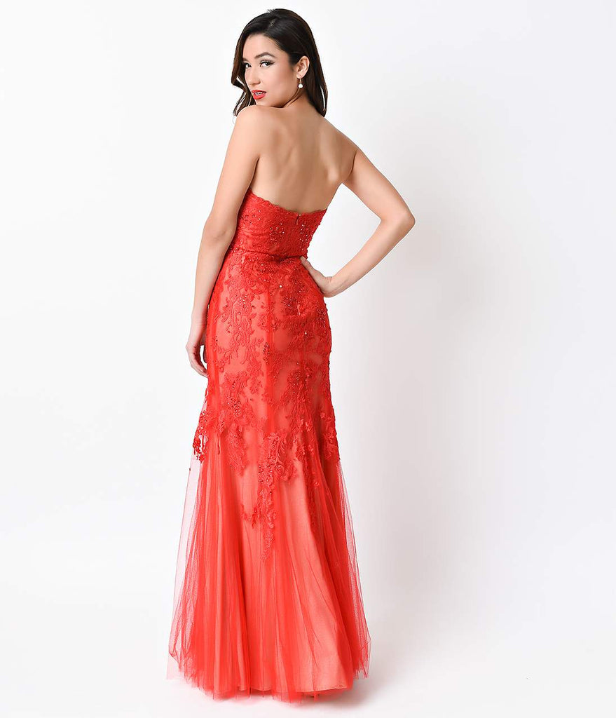 Red Sexy Strapless Lace Long Dress Red Sexy Strapless Lace Long Dress