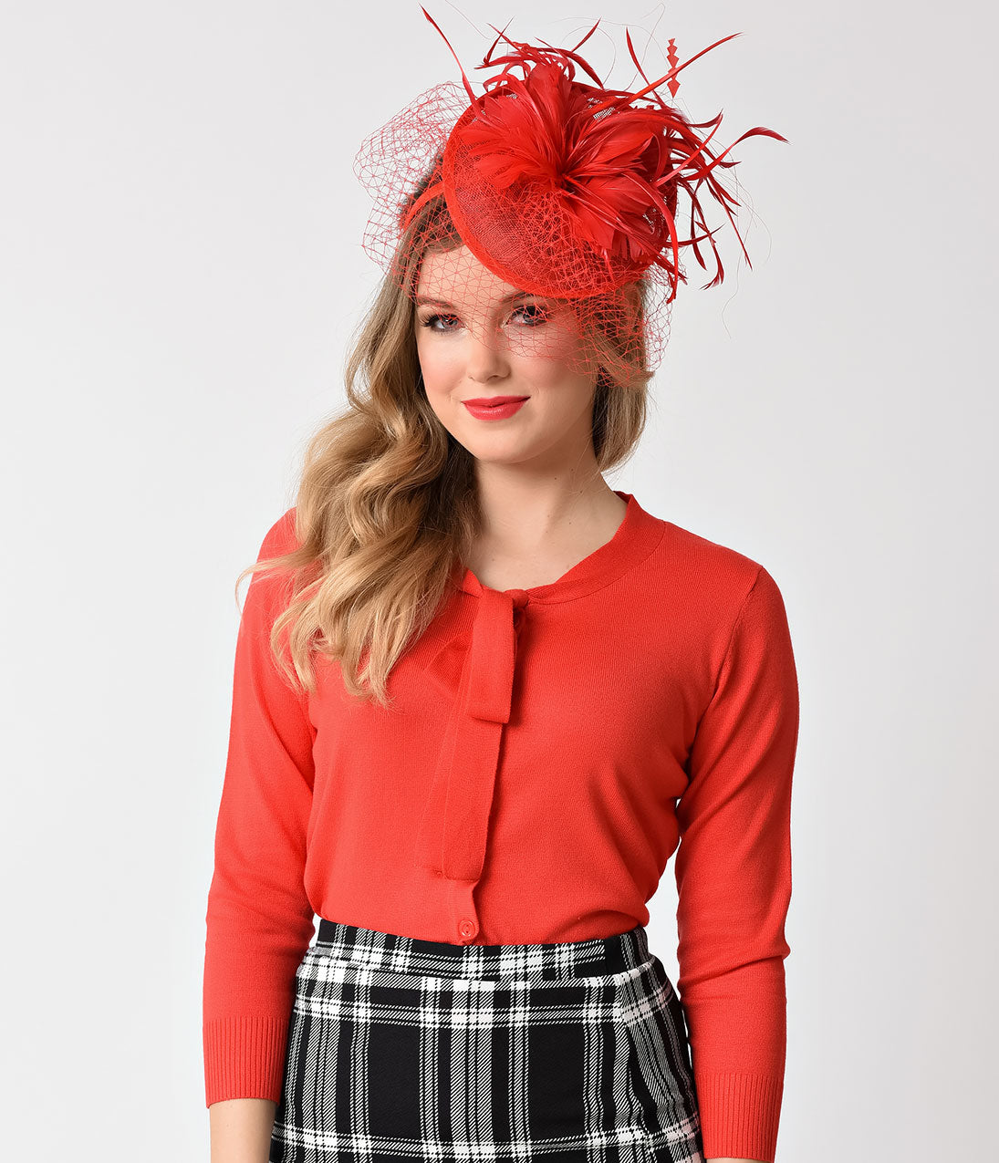 1950s Women's Hat Styles & History Red Sinamay  Netted Feather Fascinator Hair Clip $42.00 AT vintagedancer.com