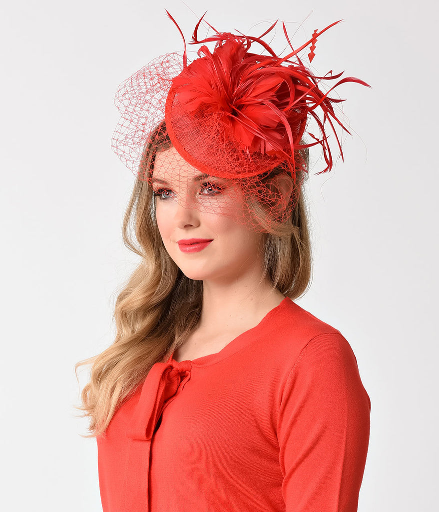 Red Sinamay & Netted Feather Fascinator Hair Clip