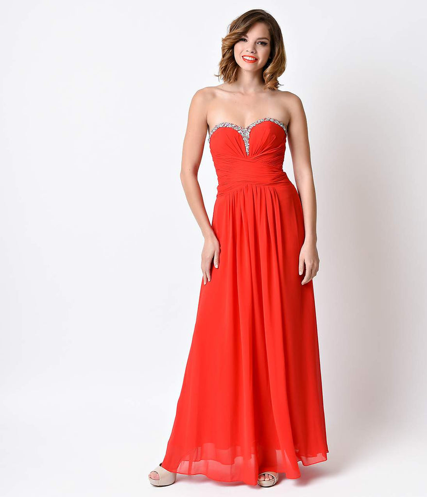Red Strapless Sweetheart Ruched Chiffon Gown