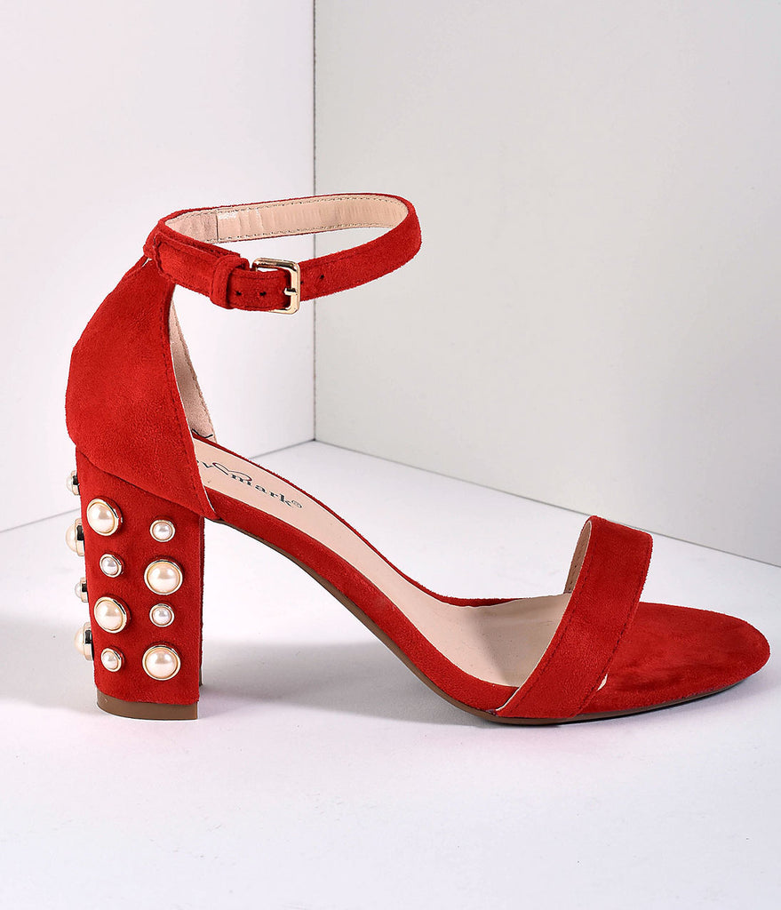 Red Suede Block Pearl Pump Sandals