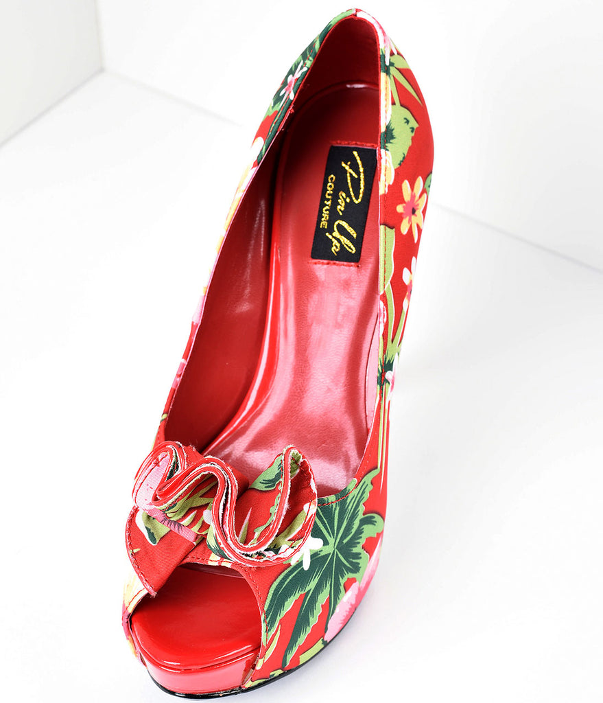 Red Tropical Print Peep Toe Lolita Heels
