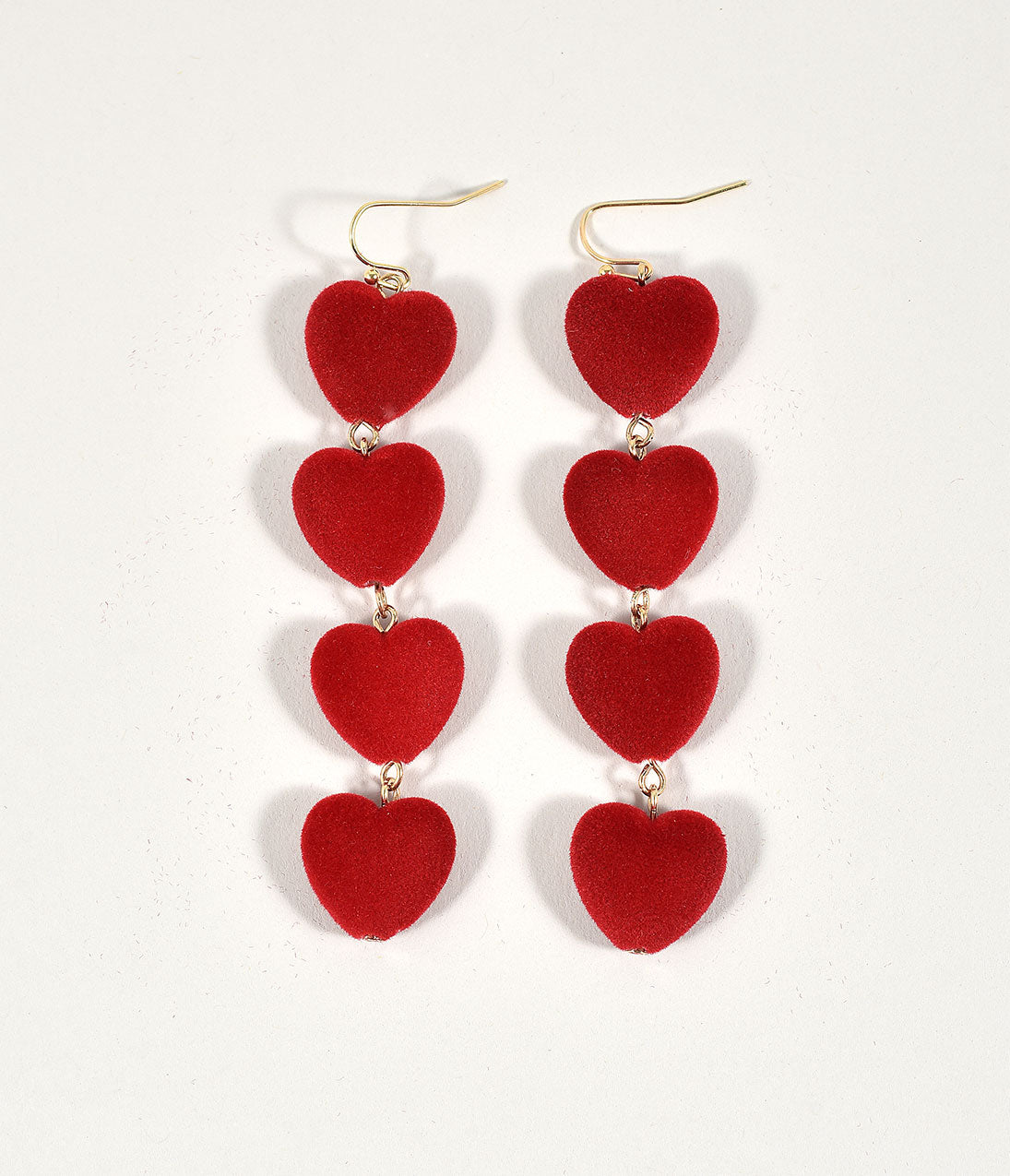 Vintage Style Jewelry, Retro Jewelry Red Velvet Stacked Hearts Drop Earrings $16.00 AT vintagedancer.com