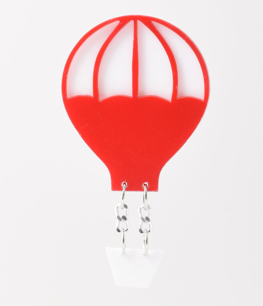 Red & White Hot Air Balloon Resin Brooch