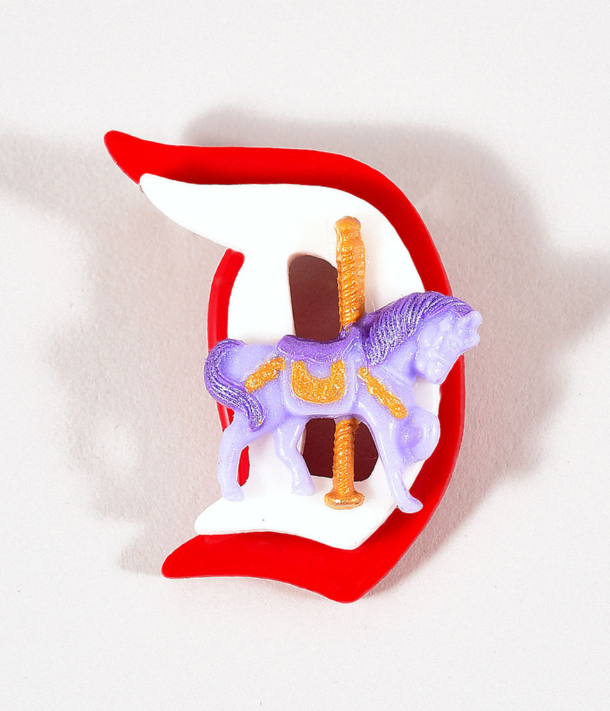 Red, White, & Purple Carousel Horse Fairytale Brooch