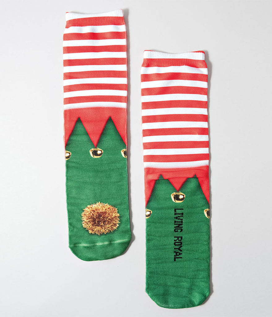 Red & White Striped Elf Shoe Crew Socks