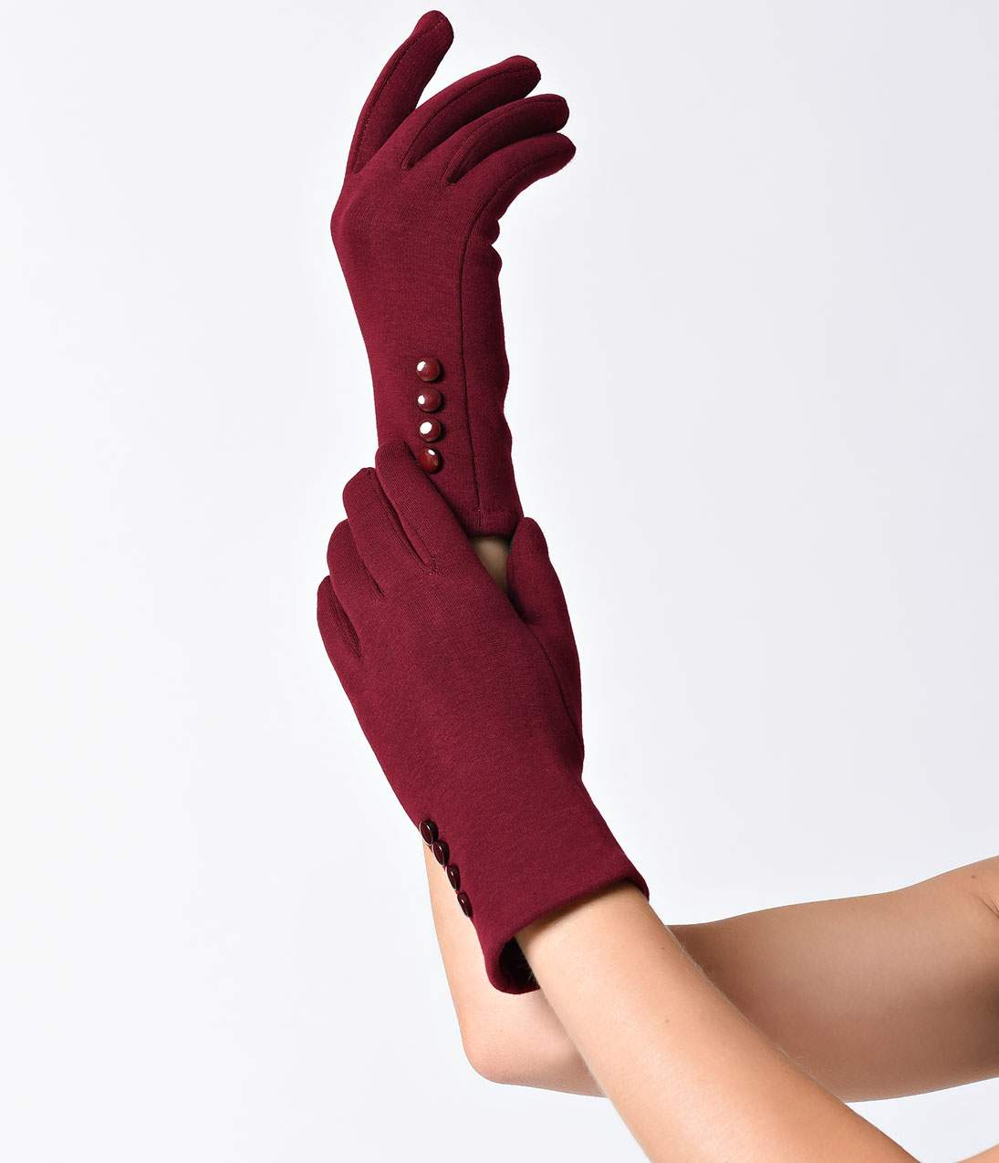Vintage Gloves – Styles from 1900 to 1960s Red Wrist Length Buttons Texting Gloves $18.00 AT vintagedancer.com