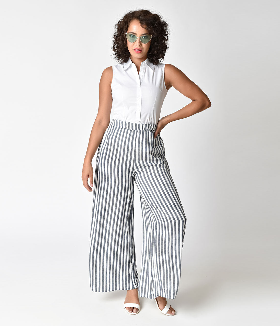 Vintage High Waisted Trousers, Sailor Pants, Jeans Retro 1940s Style Blue  White Striped High Waist Pants $30.00 AT vintagedancer.com
