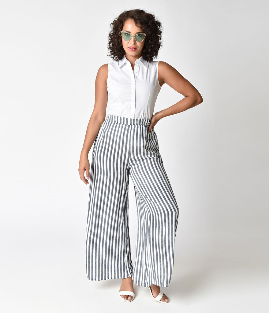 Retro 1940s Style Blue & White Striped High Waist Pants
