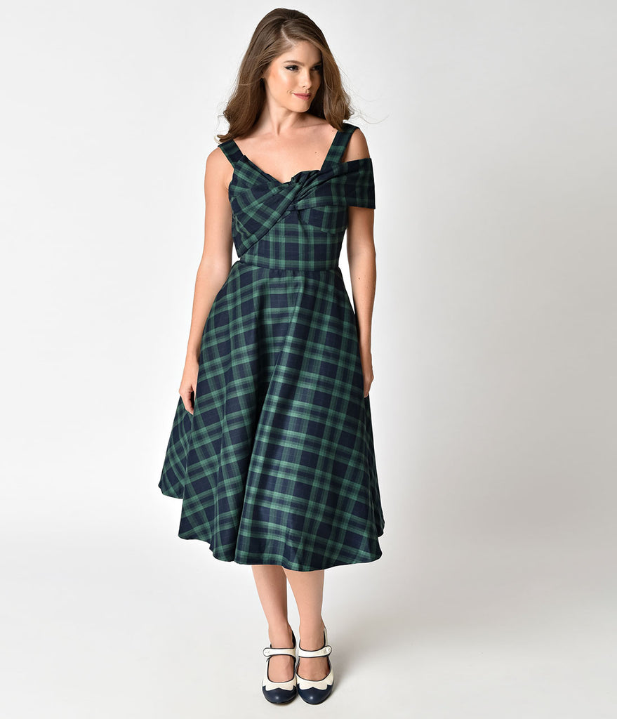 Retro 1950s Style Green Tartan Asymmetrical Westwood Swing Dress