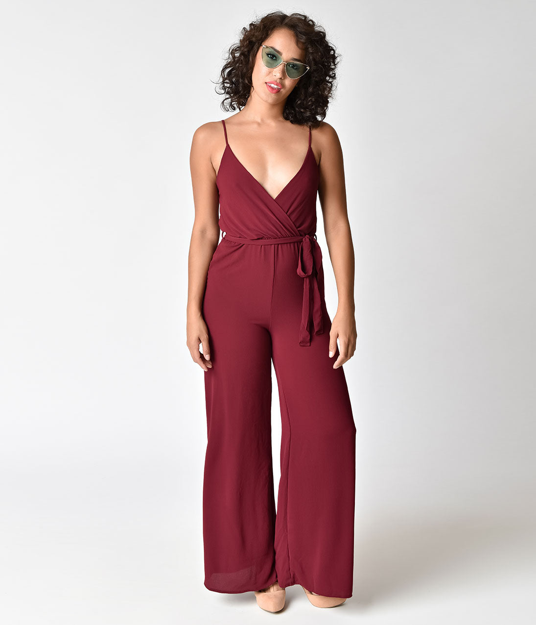 Vintage High Waisted Trousers, Sailor Pants, Jeans Retro 1970s Style Burgundy Spaghetti Strap Crepe Jumpsuit $44.00 AT vintagedancer.com