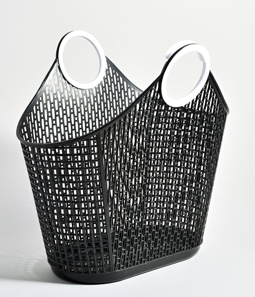 Retro Black Jelly Plastic Fiesta Small Shopper Basket