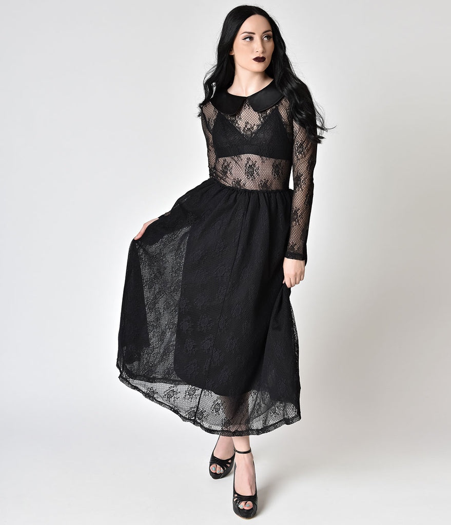 Retro Black Sheer Floral Lace Collar Midi Swing Dress