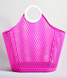 Retro Fuchsia Pink Jelly Plastic Fiesta Large Shopper Basket