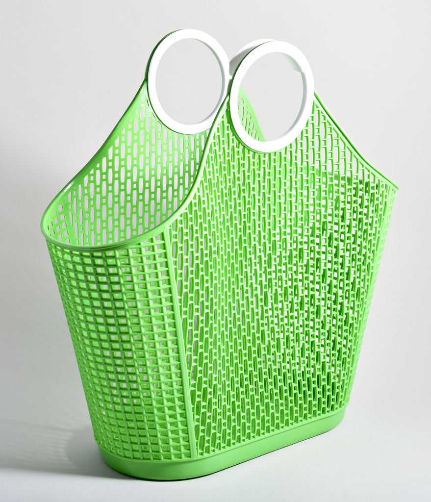 Retro Green Jelly Plastic Large Fiesta Shopper Basket