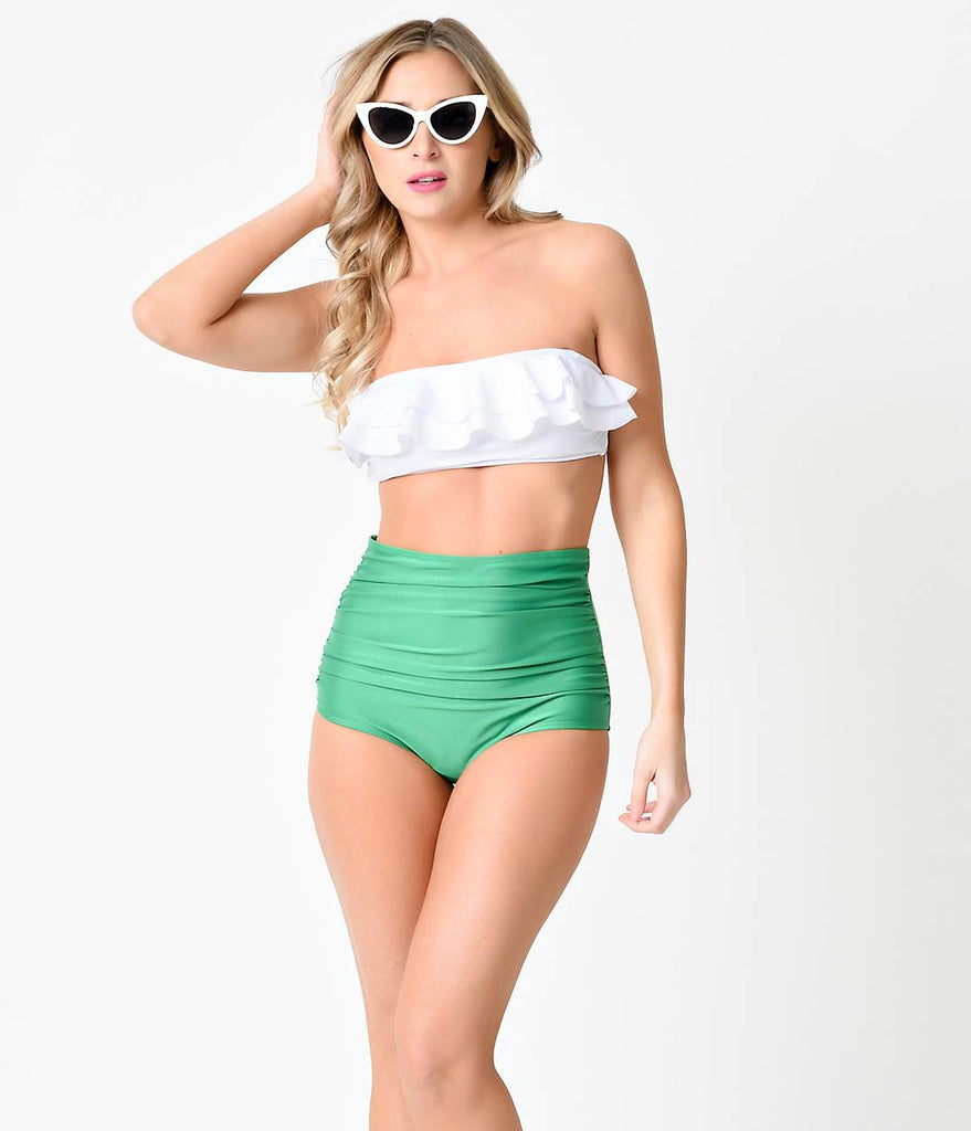 Retro Pin Up Green & White Color Block Bandeau High Waist Bikini