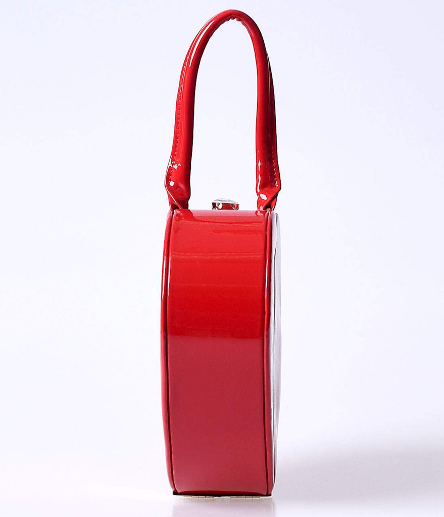 Banned Retro Red Patent Leatherette Hard Heart Handbag