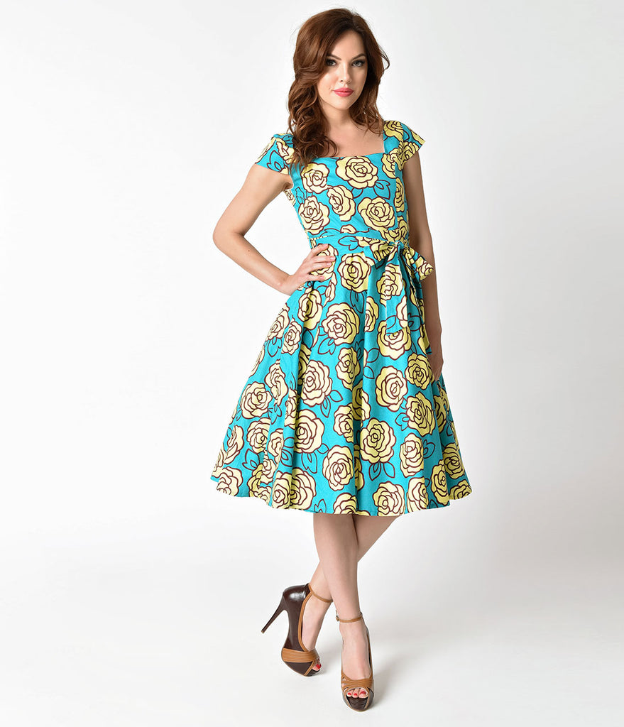 Retro Style Aqua & Yellow Roses Cap Sleeve Anna Swing Dress