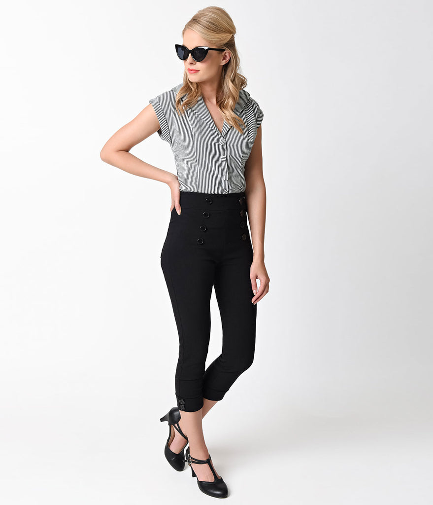 Retro Style Black Button Stretch Capri