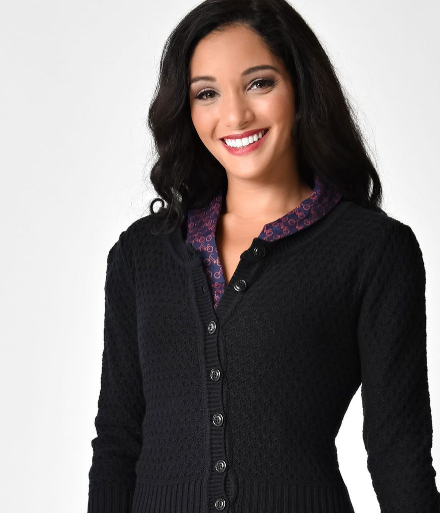 9e88afc59 ... Retro Style Black Button Three-Quarter Sleeve Crochet Cardigan ...