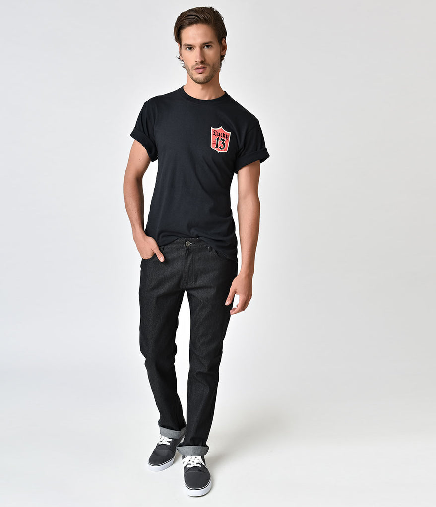 Retro Style Black Denim Mens Jeans
