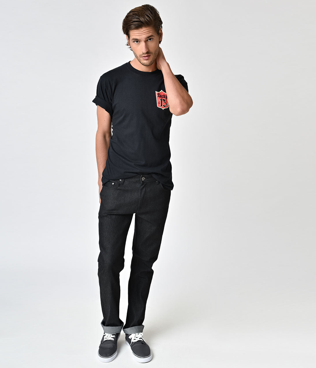 Retro Style Black Denim Mens Jeans Slick and hip, darlings! These retro inspired black denim mens jeans are full of bad boy vibes. A button zipper front and front and back pockets lends vivacious versatility while the rolled cuffs fabulously flatter. We'll try to stay calm. .Available in sizes 30-38 while supplies last. | Retro Style Black Denim Mens Jeans