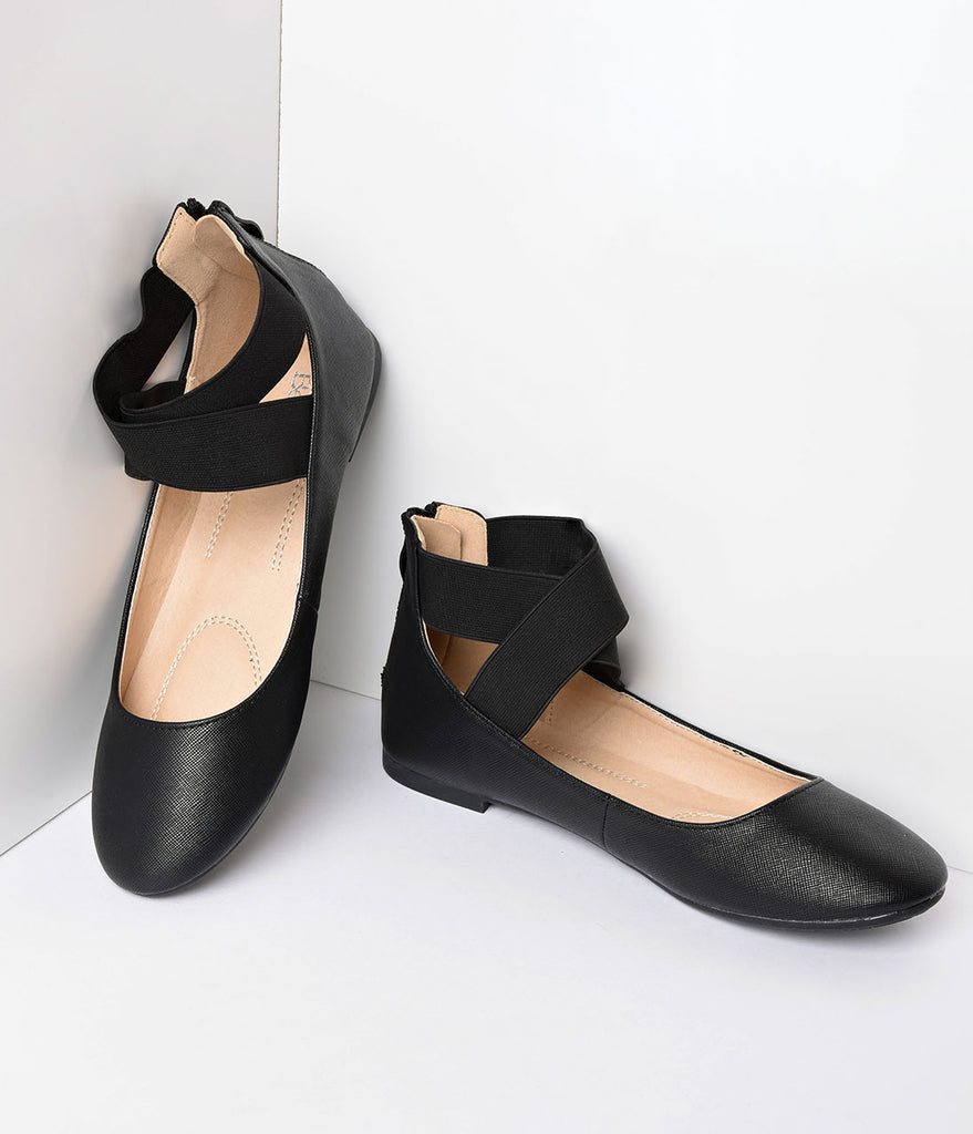 Retro Style Black Elastic Cross Ankle Strap Flats