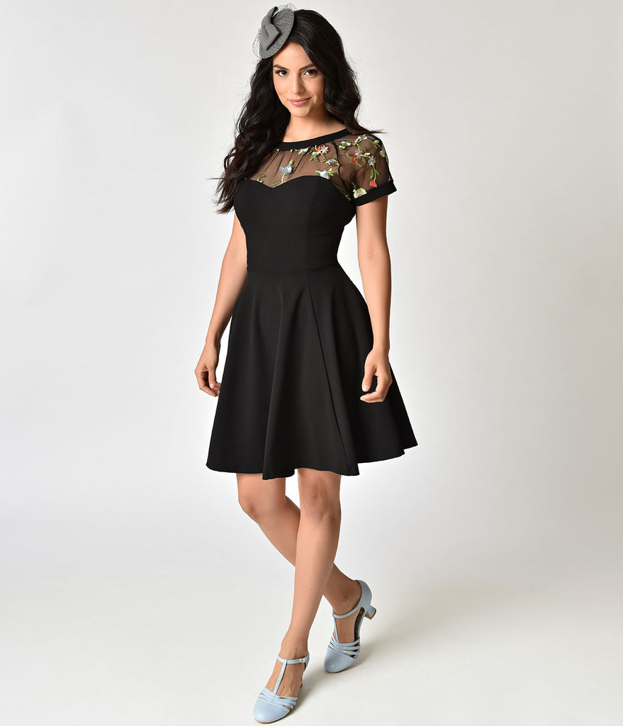 Retro Style Black & Floral Embroidery Sheer Neckline Swing Dress ...