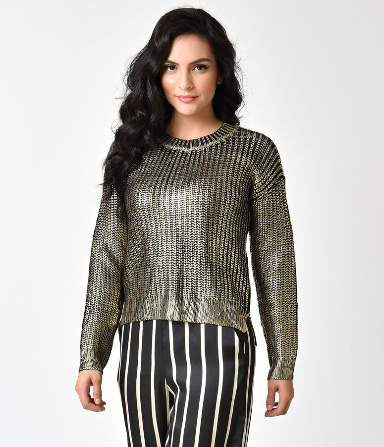 Retro Style Black & Gold Metallic Long Sleeve Janet Knit Sweater