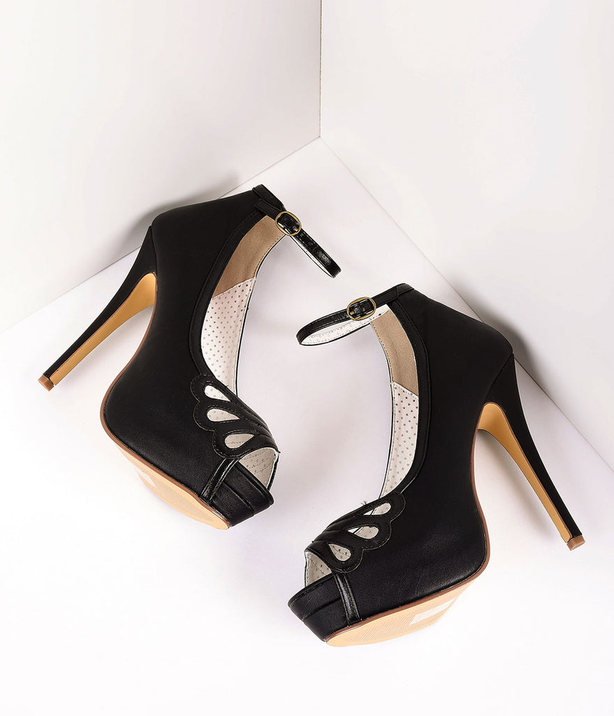 Retro Style Black Leatherette Peep Toe Platform Cutout Pumps