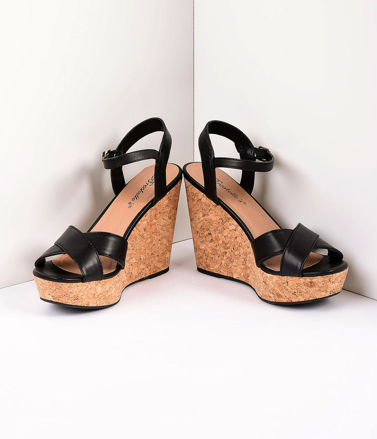 Retro Style Black Leatherette Peep Toe Wedge Sandals