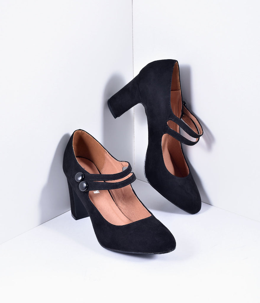 Retro Style Black Nubuck Olivia Mary Jane Pumps