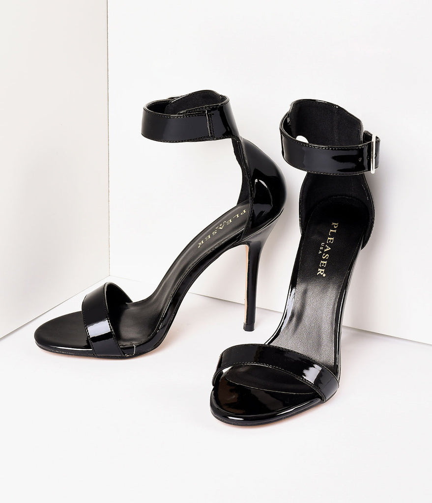 Retro Style Black Patent Ankle Strap Sandal Pumps