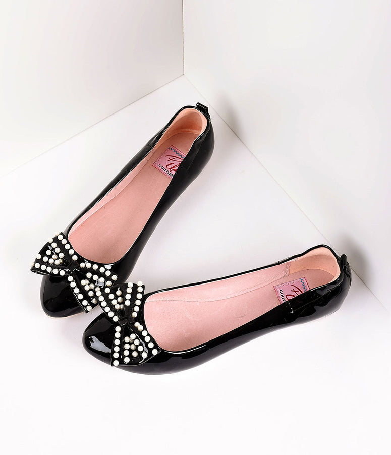 Retro Style Black Patent Leather Pearl Bow Ballet Flats