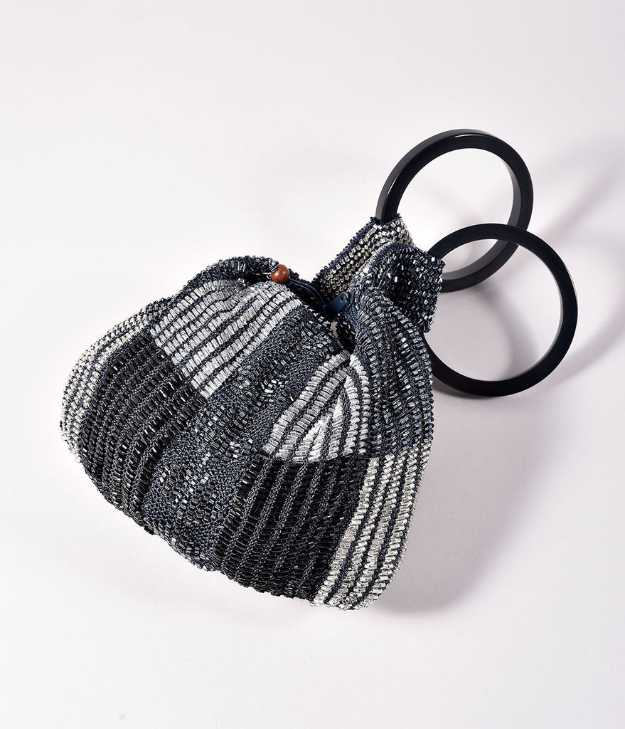 Retro Style Black & Pewter Multi Beaded Satchel Bag