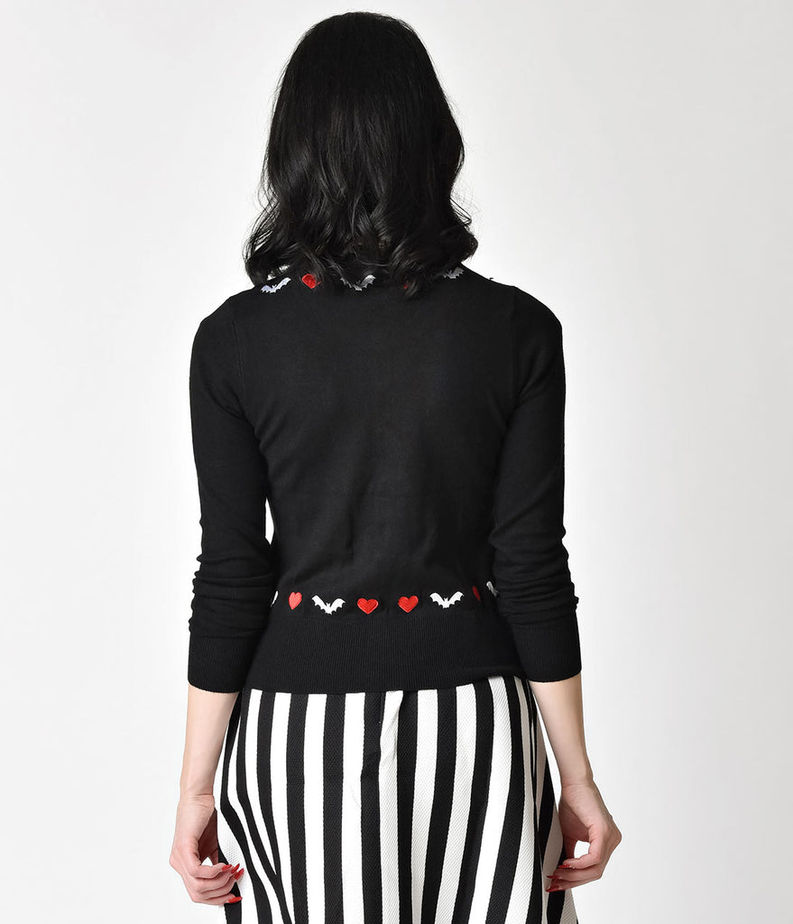 Retro Style Black & Red Bats & Hearts Long Sleeve Knit Cardigan