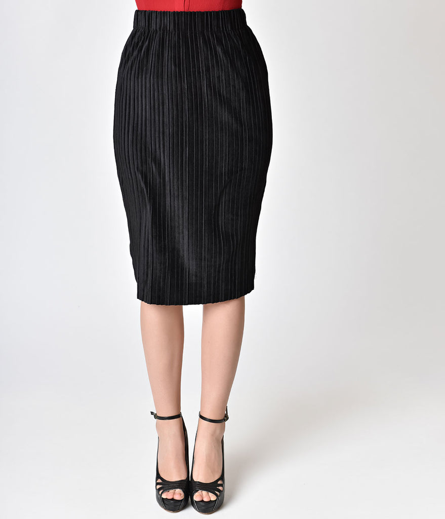 Retro Style Black Textured Velvet High Waist Wiggle Skirt