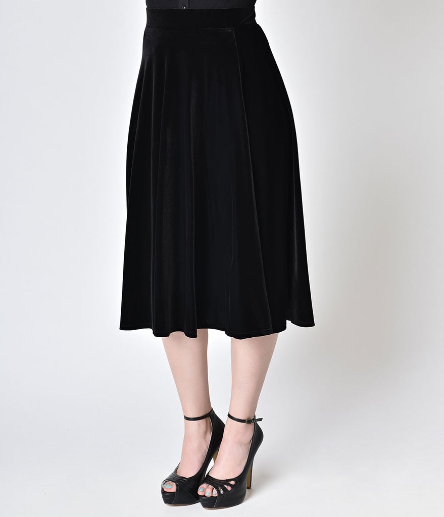 Retro Style Black Velvet Stretch High Waist Swing Skirt