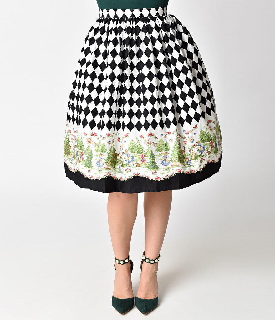 Retro Style Black & White Checkered High Waist In Wonderland Swing Skirt