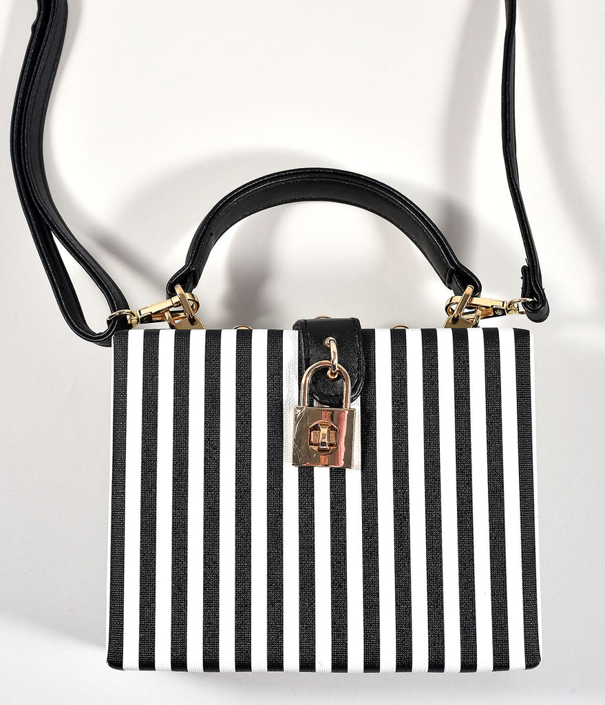 Retro Style Black & White Stripe Square Handbag