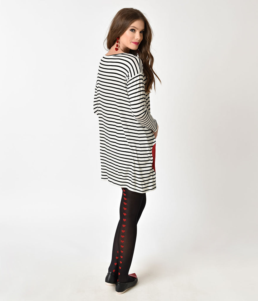 Retro Style Black & White Striped with Red Heart Patch Shift Dress