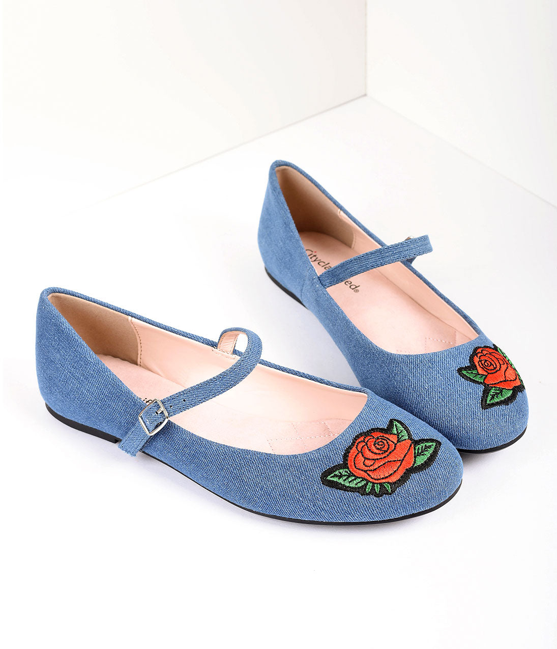 Pin Up Shoes- Heels & Flats Retro Style Blue Denim  Embroidered Red Rose Mary Jane Flats Shoes $28.00 AT vintagedancer.com